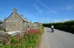 Enjoying a walk on the road through East Portlemouth on our one sunny day